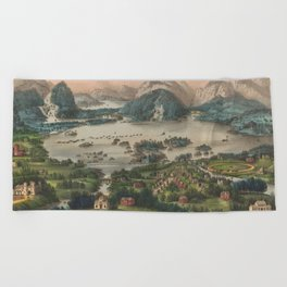Vintage Lakes of Killarney Pictorial Map (1868) Beach Towel