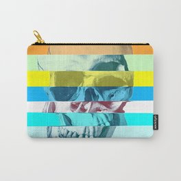 Striped Glitch Skull Carry-All Pouch
