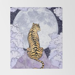 Tiger Moon | Colour Version Throw Blanket