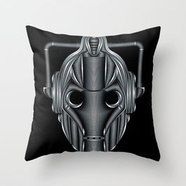 Doctor Who Cyberman Silver Throw Pillow