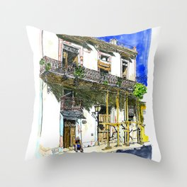 Man Sitting in Front of His House, Habana Vieja, Cuba Throw Pillow