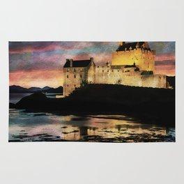 Eilean Donan Castle at Sunset. Rug