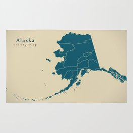 Modern Map - Alaska county map USA silhouette illustration Rug