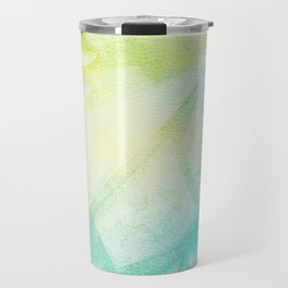 Abstract lime green teal hand painted watercolor pattern Travel Mug