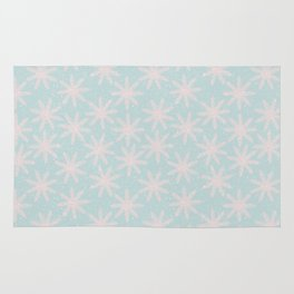Merry christmas - Knit pink snowflakes and snow on aqua background Rug