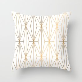 Gold Geometric Pattern Illustration Throw Pillow