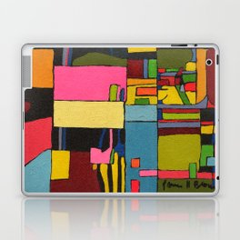 Colors in Collision 2 - Geometric Abstract in Blue Yellow Pink and Green Laptop & iPad Skin