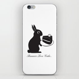 Bunnies Love Cake, Bunny Illustration, cake lovers, animal lover gift iPhone Skin