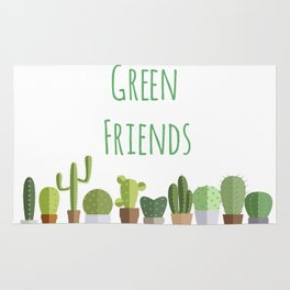 Cactuses poster: Green friends Rug