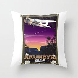 Akureyri iceland travel poster Throw Pillow