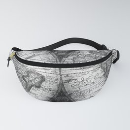 World Map Antique Vintage Black and White Fanny Pack