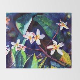 Blooming Plumeria Throw Blanket