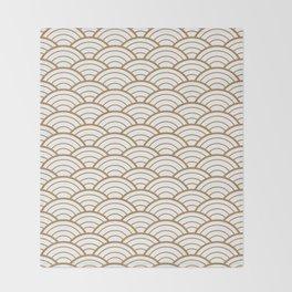 Gold white Art Deco shell pattern Throw Blanket