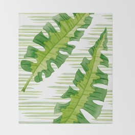 Tropical Leaves Watercolor Painting Throw Blanket
