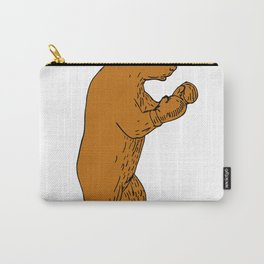 Brown Bear Boxing Stance Drawing Carry-All Pouch