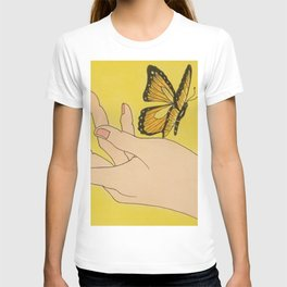 Butterfly on hand T-shirt