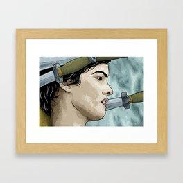 La file sur le pont Framed Art Print