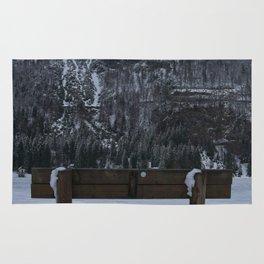 Lone Bench At Lago del Predil Italy Rug