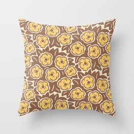 Flower Bouquet Pattern Yellow and Brown Throw Pillow