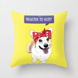 Political Pups - Register To Vote Corgi Throw Pillow