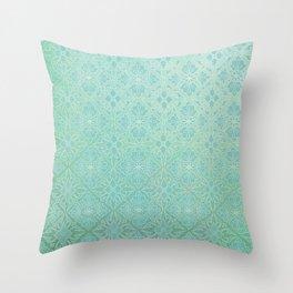 Green Watercolor Tile Throw Pillow