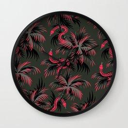 Snake Palms - Dark Vintage Coral Wall Clock