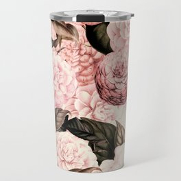 Vintage & Shabby Chic Pink Floral camellia flowers watercolor pattern Travel Mug
