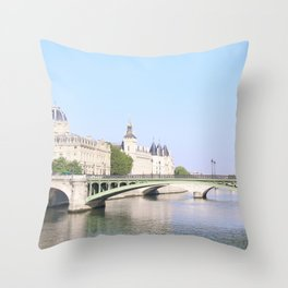 Green bridge of Paris Throw Pillow