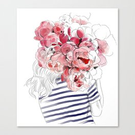 Back from the flower market - Peonies bouquet illustration Canvas Print
