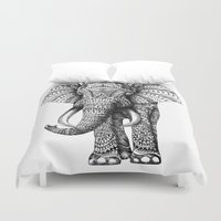 hello beautiful Duvet Covers featuring Ornate Elephant by BIOWORKZ