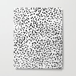 Nadia - Black and White, Animal Print, Dalmatian Spot, Spots, Dots, BW Metal Print