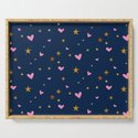 Heart and star pattern, pink and dark blue. by rhoar