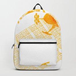 Explorer Schematic Orange On White Backpack