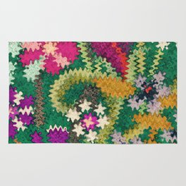 Starry Floral Felted Wool, Green Rug