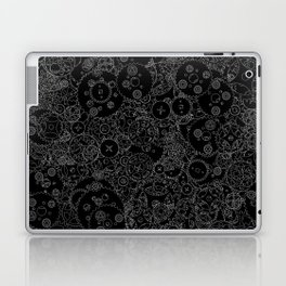 Clockwork B&W inverted / Cogs and clockwork parts lineart pattern Laptop & iPad Skin