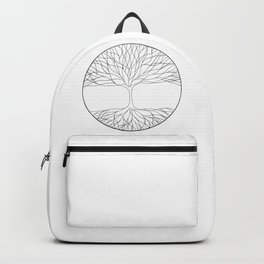 black and white minimalist tree of life line drawing Backpack