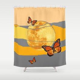 MOON & MONARCH BUTTERFLIES DESERT SKY ABSTRACT ART Shower Curtain