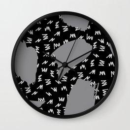 Black White And Grey Retro 80s Zig Zag Pattern Wall Clock
