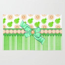 Green Ladybugs and Daisies Rug