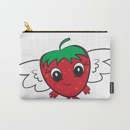 Cute Strawberry FlyBerry Kiddo White Carry-All Pouch