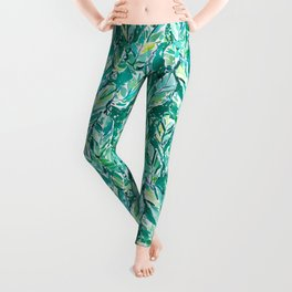 BANANA LEAF JUNGLE Green Tropical Leggings