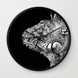 Black And White Iguana Art - One Cool Dude 2 - Sharon Cummings Wall Clock