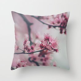 Pink Cherry Blossom On Branch Throw Pillow