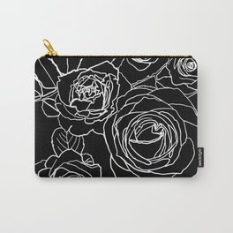 Feminine and Romantic Rose Pattern Line Work Illustration on Black Carry-All Pouch