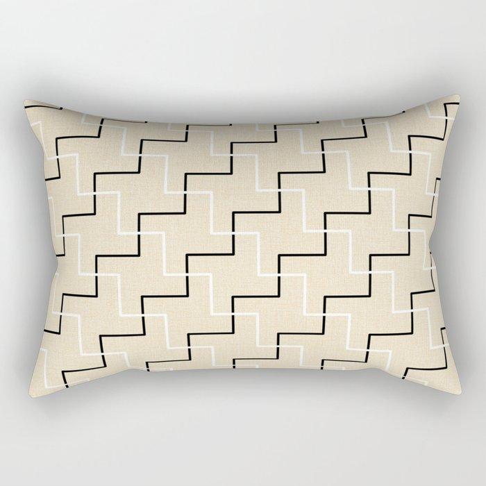 Geometrical black white ivory modern chevron Rectangular Pillow