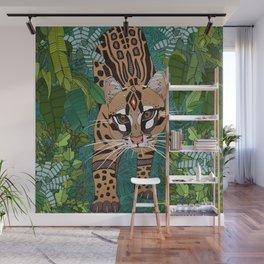 ocelot jungle green Wall Mural