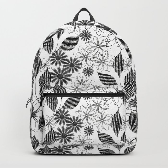 Flowers on a white background. Backpack