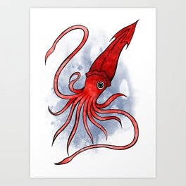 Underwater Animals - Squid Print Art Print