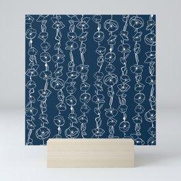 poppy vines on navy Mini Art Print
