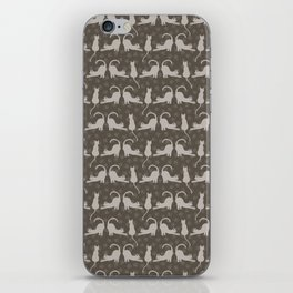 Brown and Gray Cute Stretching Cats Vector Pattern iPhone Skin